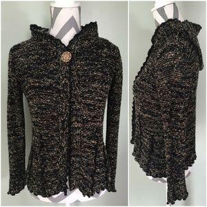 BCBGMAXAZRIA Black Brown Knit Hooded Cardigan